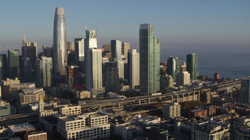 5.7K stock footage aerial video of a reverse view of the city's skyline, Downtown San Francisco, California Aerial Stock Footage | PP0002_000088