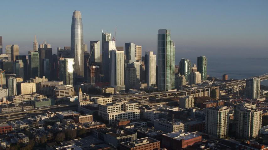 5.7K stock footage aerial video of flying away from the city's skyline, Downtown San Francisco, California Aerial Stock Footage | PP0002_000089