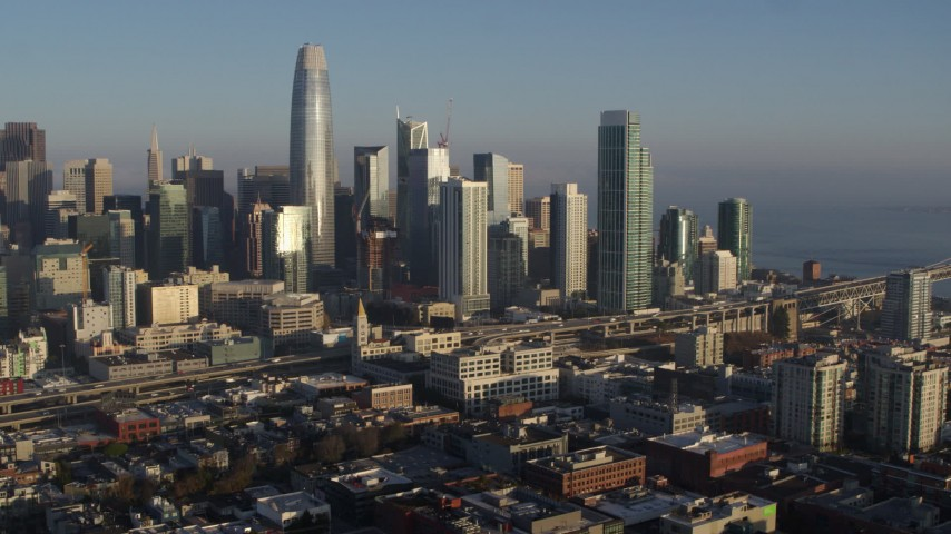 5.7K stock footage aerial video of slowly flying away from the city's skyline, Downtown San Francisco, California Aerial Stock Footage   PP0002_000090