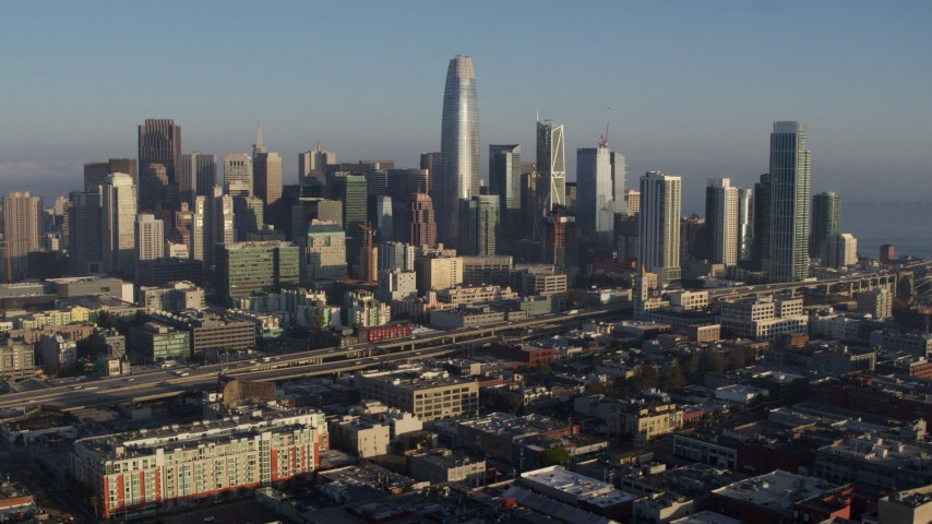 5.7K stock footage aerial video of flying by the city's skyline and pause for stationary view, Downtown San Francisco, California Aerial Stock Footage | PP0002_000091