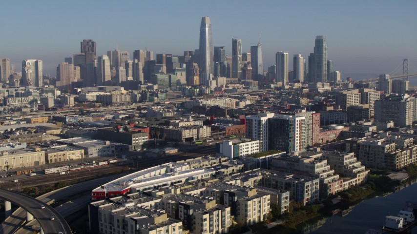 5.7K stock footage aerial video of a reverse view of the city's skyline, Downtown San Francisco, California Aerial Stock Footage | PP0002_000093