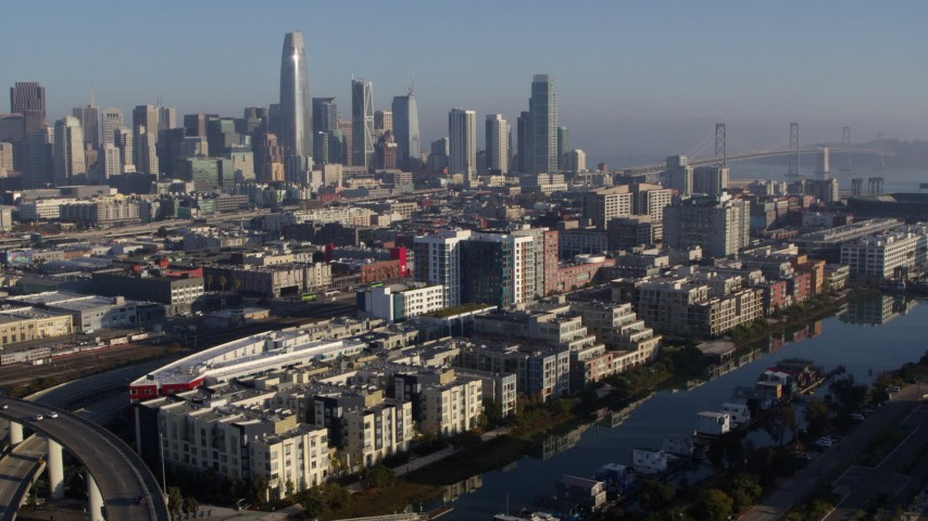 5.7K stock footage aerial video of waterfront condos and the city's skyline, Downtown San Francisco, California Aerial Stock Footage | PP0002_000094