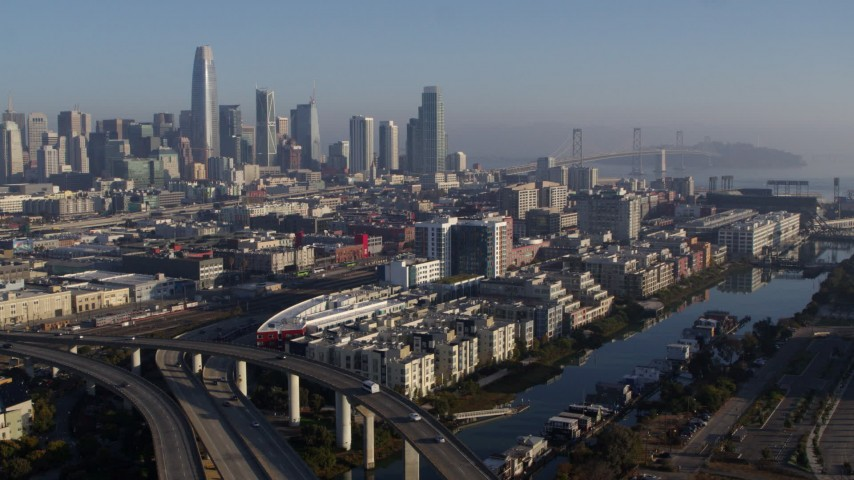 5.7K stock footage aerial video of waterfront condo complexes and the city's skyline, Downtown San Francisco, California Aerial Stock Footage | PP0002_000095