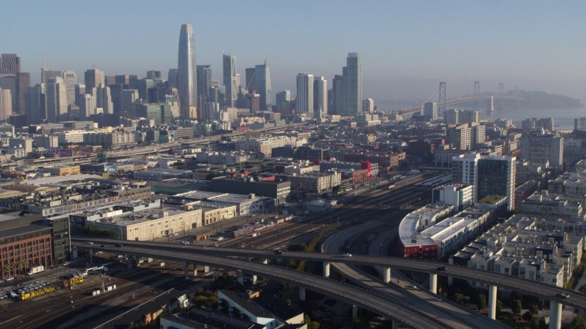 5.7K stock footage aerial video approach the city's skyline from South of Market train station, Downtown San Francisco, California Aerial Stock Footage | PP0002_000097