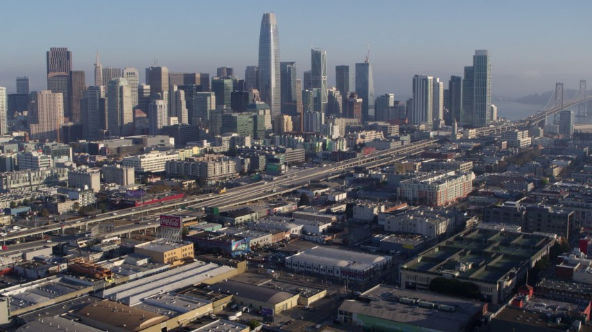 5.7K stock footage aerial video of I-80 in South of Market near city's skyline, Downtown San Francisco, California Aerial Stock Footage | PP0002_000099