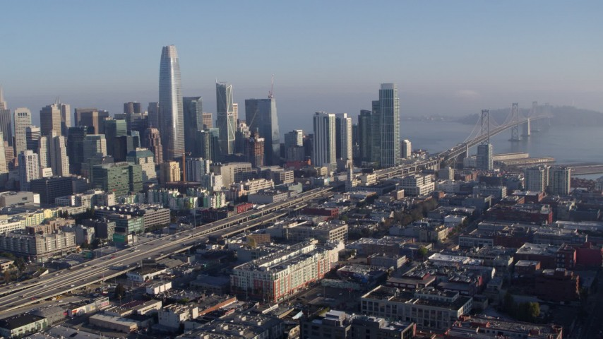 5.7K stock footage aerial video of a view of I-80 freeway to Bay Bridge near skyline, Downtown San Francisco, California Aerial Stock Footage | PP0002_000103