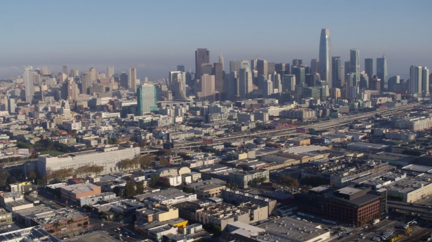 5.7K stock footage aerial video pan from the city skyline and across the expanse of the city, Downtown San Francisco, California Aerial Stock Footage | PP0002_000111