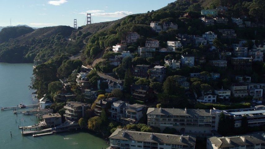 5.7K stock footage aerial video flyby hillside homes overlooking the bay in Sausalito, California Aerial Stock Footage | PP0002_000114