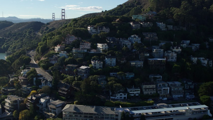 5.7K stock footage aerial video of flying by hillside homes overlooking the bay in Sausalito, California Aerial Stock Footage | PP0002_000115