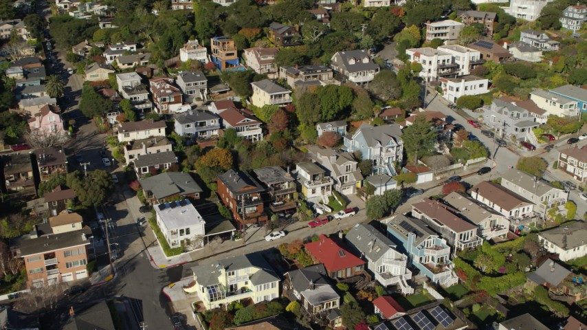 5.7K stock footage aerial video approach hillside homes and pan across neighborhood in Sausalito, California Aerial Stock Footage | PP0002_000116