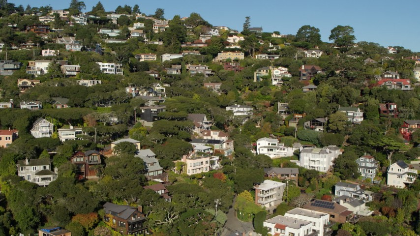 5.7K stock footage aerial video of large hillside homes in Sausalito, California Aerial Stock Footage | PP0002_000117