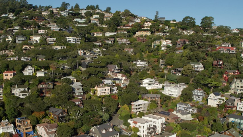 5.7K stock footage aerial video fly away from hillside homes in Sausalito, California Aerial Stock Footage | PP0002_000118