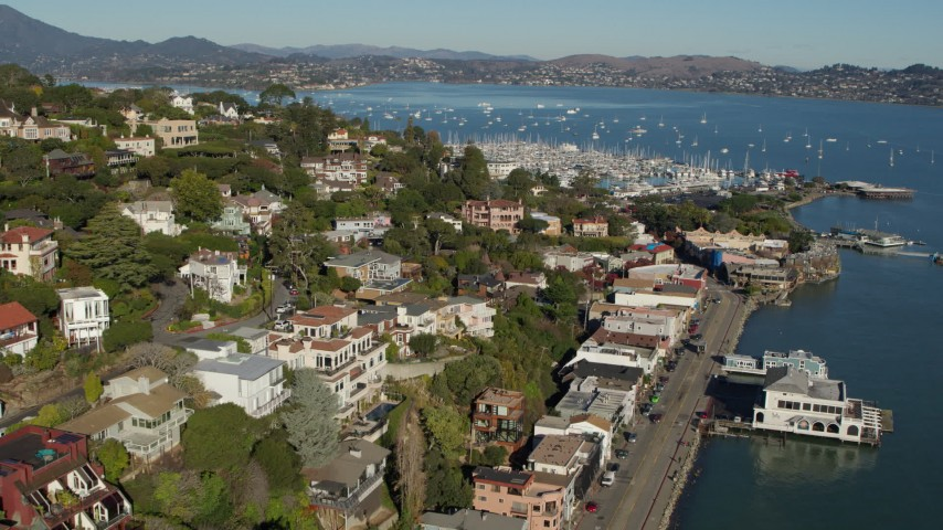5.7K stock footage aerial video flyby hillside homes and approach marina in Richardson Bay in Sausalito, California Aerial Stock Footage PP0002_000119 | Axiom Images