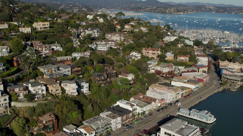 5.7K stock footage aerial video fly away from hillside homes near marina in Richardson Bay in Sausalito, California Aerial Stock Footage | PP0002_000120