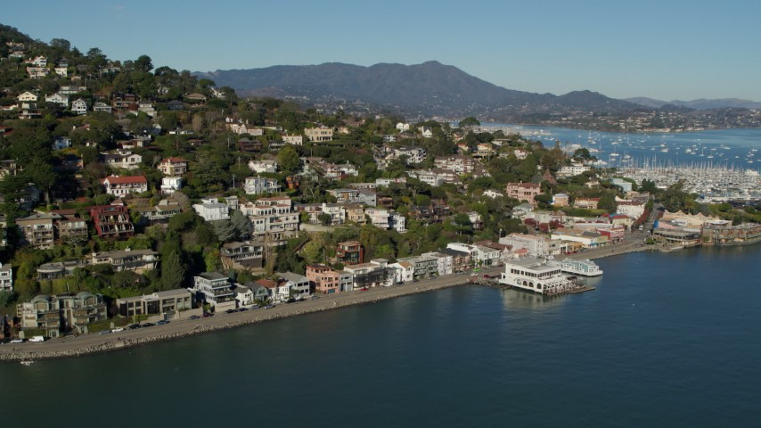 5.7K stock footage aerial video fly away from waterfront homes on a hill by Richardson Bay in Sausalito, California Aerial Stock Footage | PP0002_000121