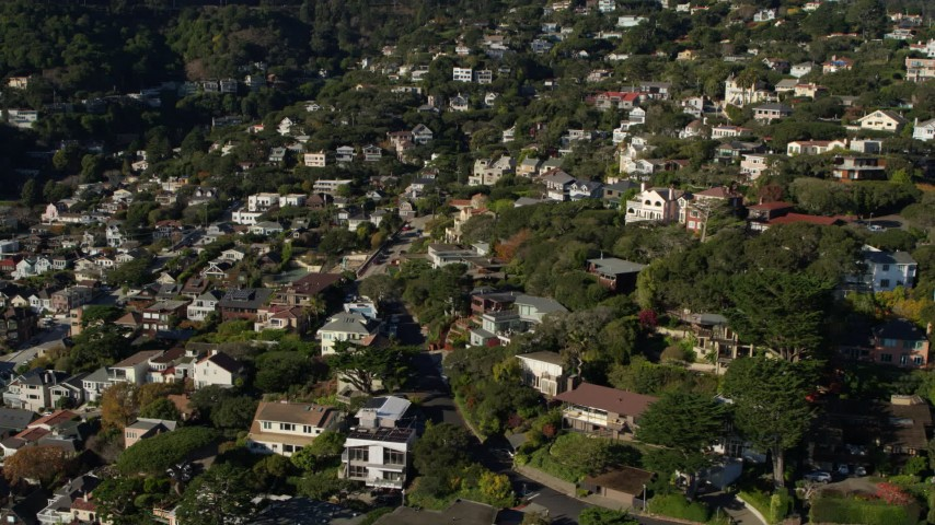 5.7K stock footage aerial video pan across hillside neighborhoods in Sausalito, California Aerial Stock Footage | PP0002_000128
