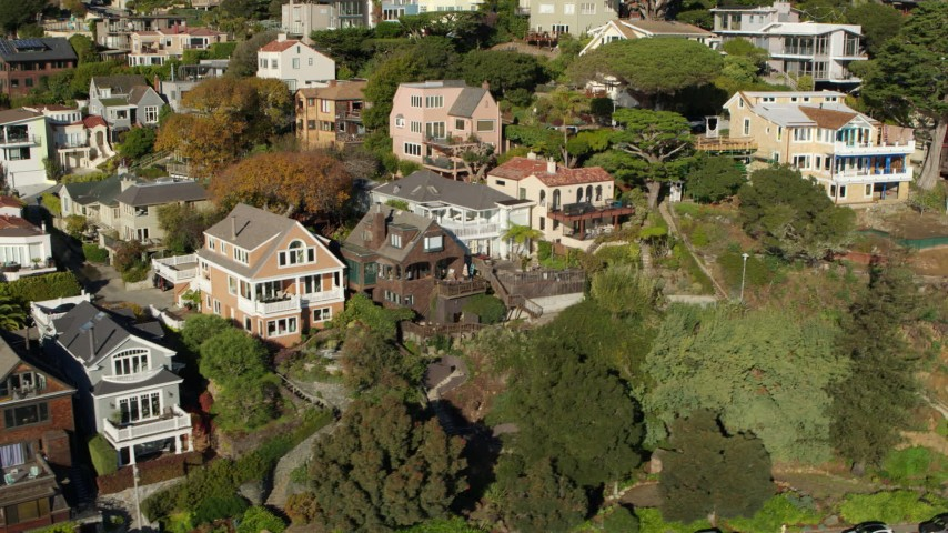 5.7K stock footage aerial video of flying by hillside neighborhoods in Sausalito, California Aerial Stock Footage | PP0002_000129