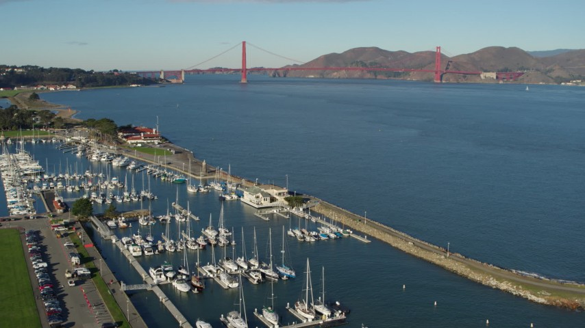 5.7K stock footage aerial video of the Golden Gate Bridge seen from San Francisco Marina in California Aerial Stock Footage | PP0002_000134