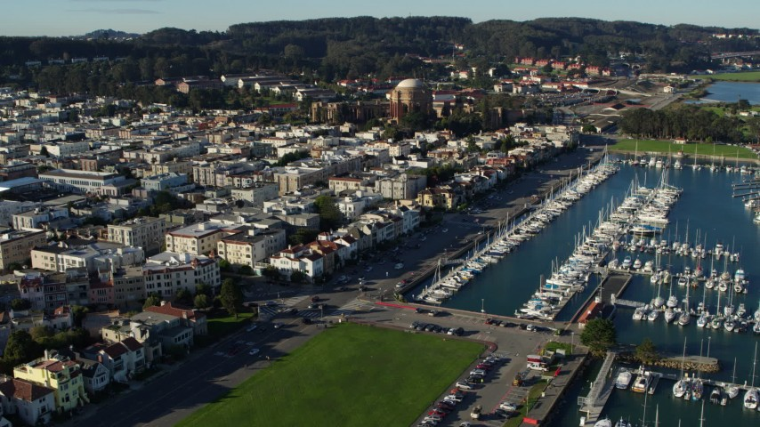 5.7K stock footage aerial video descend and approach apartment buildings near Palace of Fine Arts, Marina District, California Aerial Stock Footage   PP0002_000136