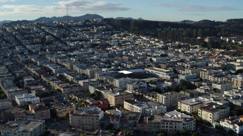 5.7K stock footage aerial video a view of Marina District apartment buildings in San Francisco, California Aerial Stock Footage | PP0002_000137