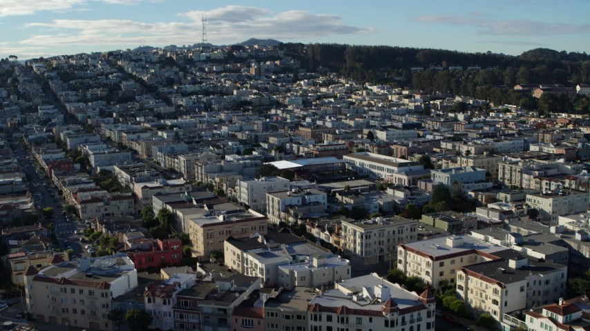 5.7K stock footage aerial video of slowly passing Marina District apartment buildings in San Francisco, California Aerial Stock Footage | PP0002_000138
