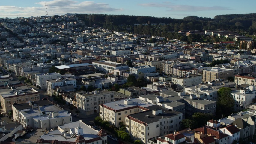 5.7K stock footage aerial video of slowly flying Marina District apartment buildings in San Francisco, California Aerial Stock Footage | PP0002_000139