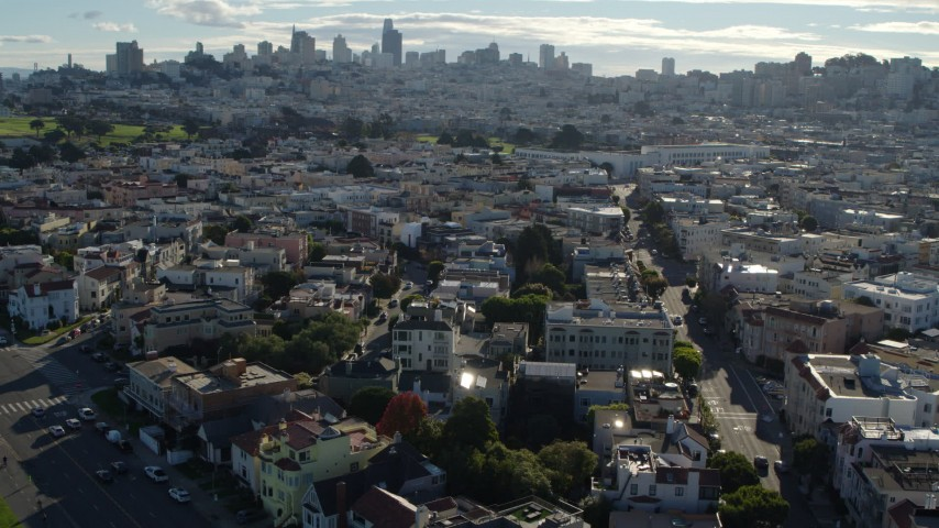 5.7K stock footage aerial video flyby Marina District apartment buildings, skyline in the distance, San Francisco, California Aerial Stock Footage | PP0002_000141