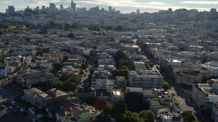 5.7K stock footage aerial video flyby Marina District apartment buildings and tilt to some of the buildings, San Francisco, California Aerial Stock Footage   PP0002_000142