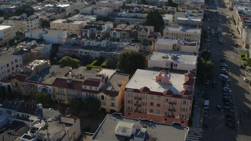 5.7K stock footage aerial video pan across apartments in the Marina District to city streets in San Francisco, California Aerial Stock Footage | PP0002_000145