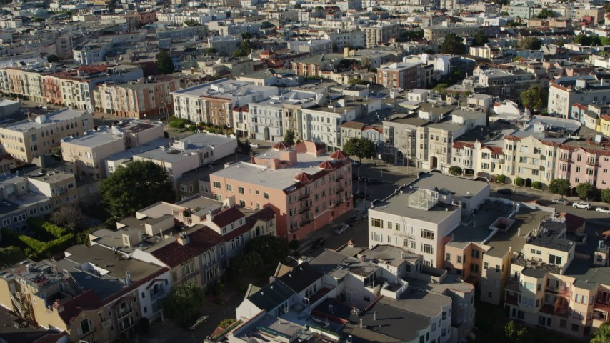 5.7K stock footage aerial video reverse view of apartments in the Marina District, tilt to wider view, San Francisco, California Aerial Stock Footage   PP0002_000146