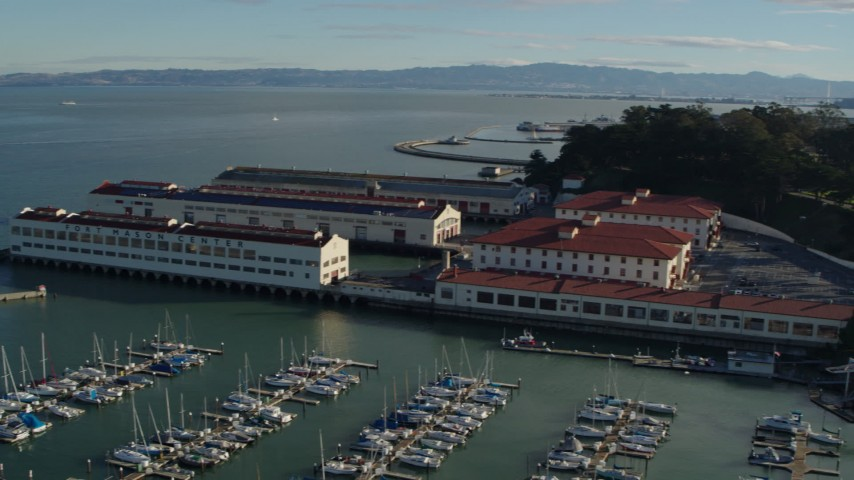 5.7K stock footage aerial video pan from Alcatraz to Fort Mason piers and the city skyline, San Francisco, California Aerial Stock Footage | PP0002_000148