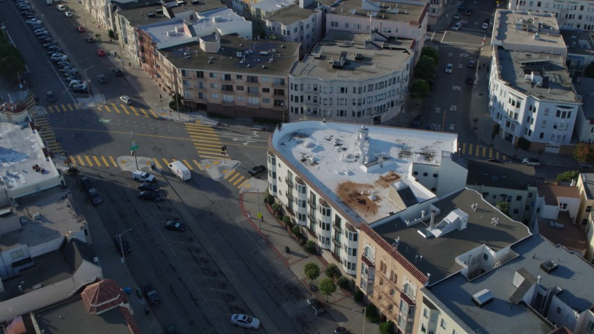 5.7K stock footage aerial video of city streets lined with apartment buildings in the Marina District, San Francisco, California Aerial Stock Footage | PP0002_000150