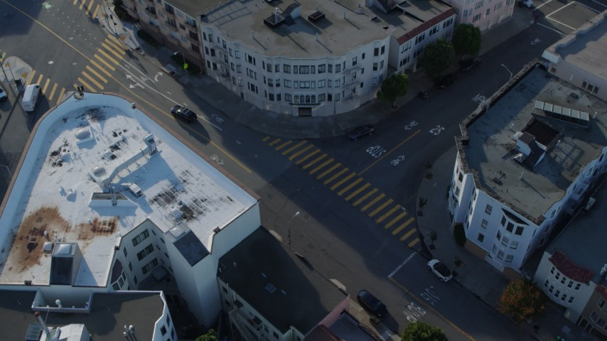 5.7K stock footage aerial video circle above city street lined with apartment buildings in the Marina District, San Francisco, California Aerial Stock Footage | PP0002_000151