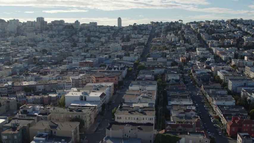 5.7K stock footage aerial video passing broad city streets lined with apartment buildings in the Marina District, San Francisco, California Aerial Stock Footage | PP0002_000154