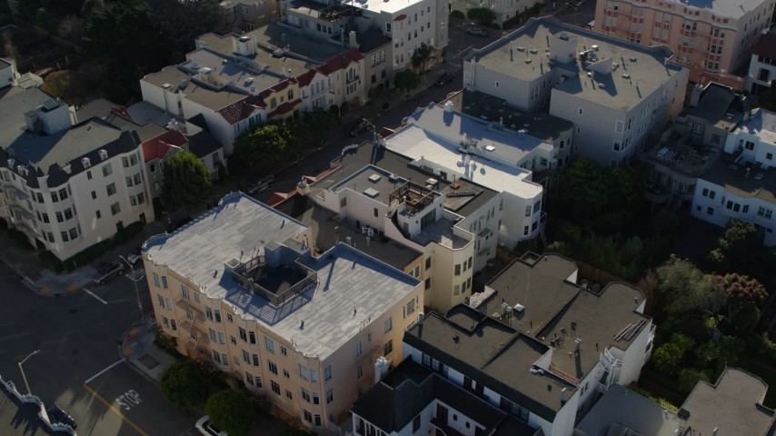 5.7K stock footage aerial video a view of apartment building rooftops in the Marina District, San Francisco, California Aerial Stock Footage | PP0002_000158