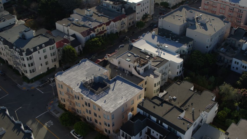 5.7K stock footage aerial video a stationary view of apartment building rooftops in the Marina District, San Francisco, California Aerial Stock Footage   PP0002_000159
