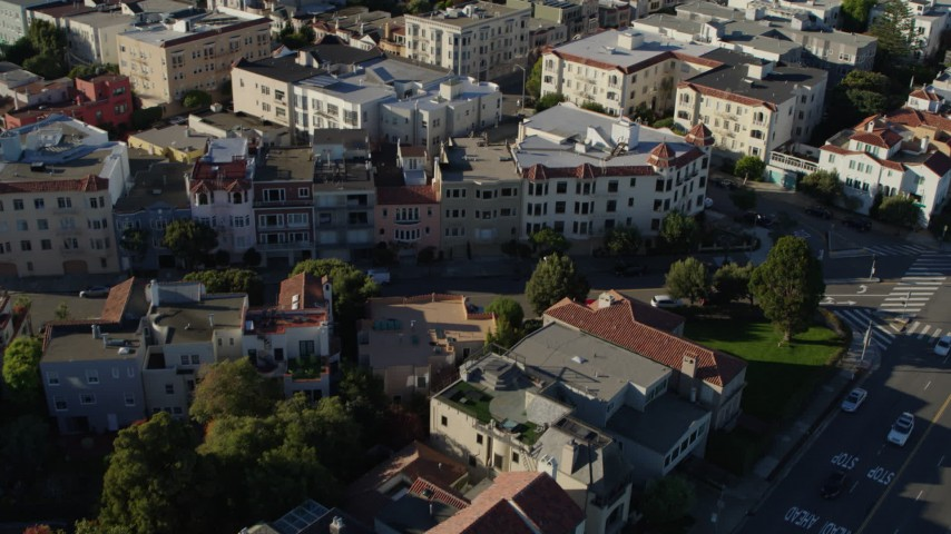 5.7K stock footage aerial video pan across rooftops in a neighborhood of apartment buildings, Marina District, San Francisco, California Aerial Stock Footage | PP0002_000162