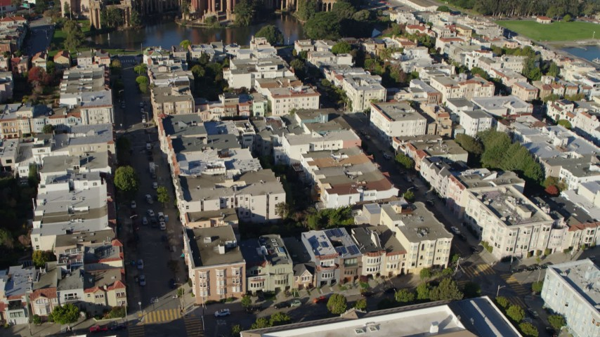 5.7K stock footage aerial video reverse view of apartment buildings, tilt to Palace of Fine Arts, Marina District, San Francisco, California Aerial Stock Footage | PP0002_000164