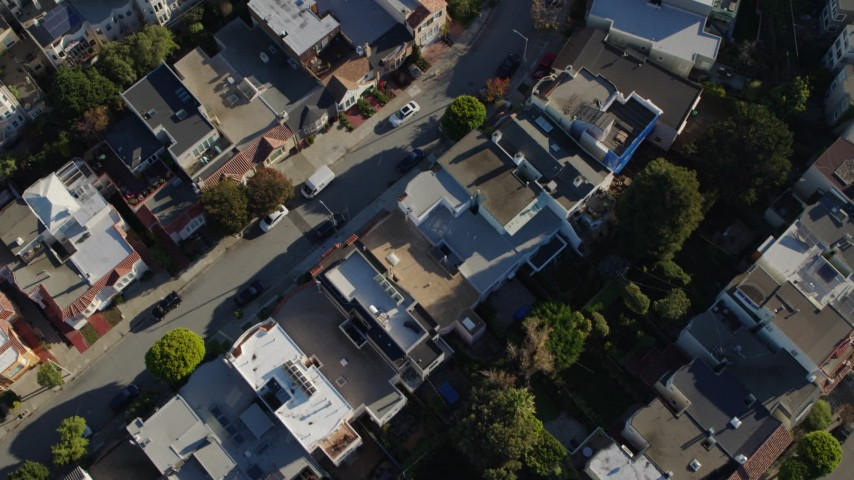 5.7K stock footage aerial video bird's eye view of apartment buildings in the Marina District, San Francisco, California Aerial Stock Footage   PP0002_000165