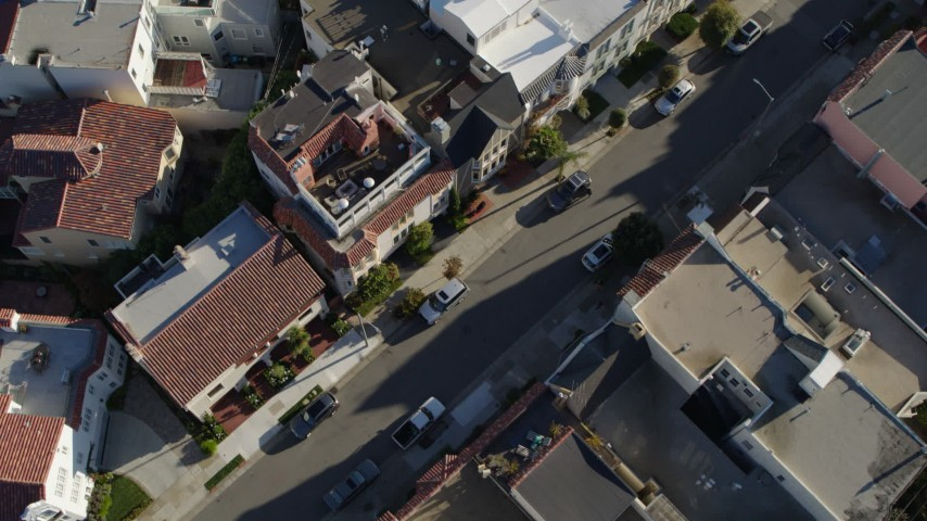 5.7K stock footage aerial video bird's eye view of apartment building rooftops in the Marina District, San Francisco, California Aerial Stock Footage | PP0002_000166