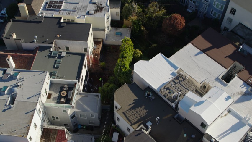 5.7K stock footage aerial video bird's eye of apartment building rooftops in the Marina District, San Francisco, California Aerial Stock Footage | PP0002_000167