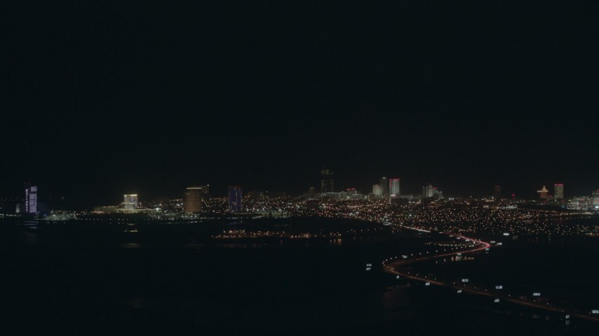 HD stock footage aerial video of flying toward hotels and casinos in the Atlantic City skyline at night, New Jersey Aerial Stock Footage | PP003_004