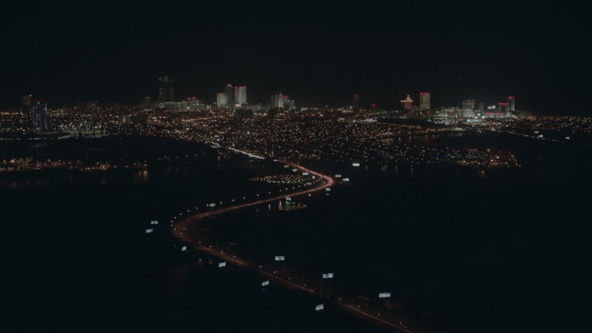 HD stock footage aerial video of the city's hotels and casinos at night, Atlantic City, New Jersey Aerial Stock Footage | PP003_005