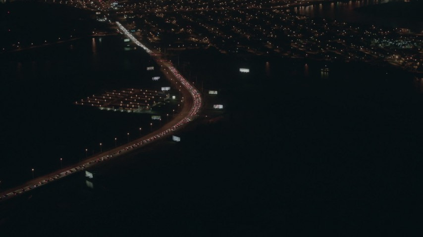 HD stock footage aerial video of heavy traffic on a city street at night, Atlantic City, New Jersey Aerial Stock Footage | PP003_007