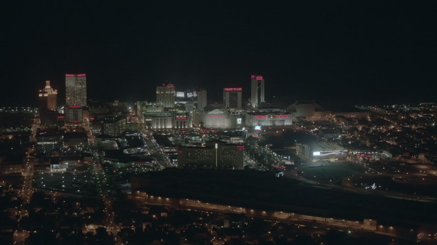 HD stock footage aerial video of large hotels and casinos at night, Atlantic City, New Jersey Aerial Stock Footage | PP003_012