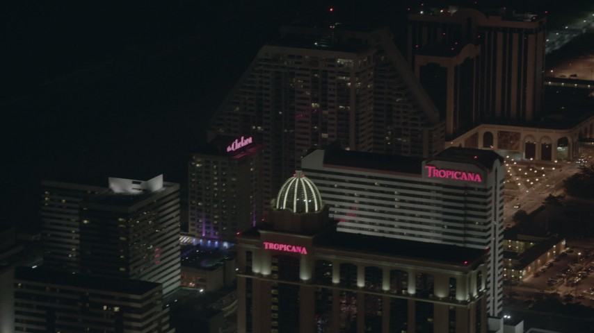 HD stock footage aerial video of panning past several hotels and casinos at night in Atlantic City, New Jersey Aerial Stock Footage | PP003_016