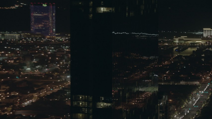 HD stock footage aerial video of a closeup orbit of the Revel hotel and casino at night in Atlantic City, New Jersey Aerial Stock Footage | PP003_025