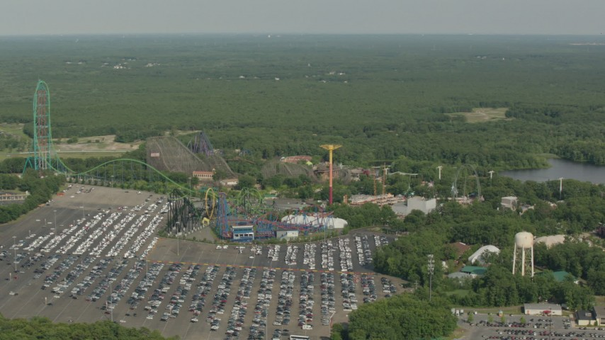 HD stock footage aerial video of passing rides at the Six Flags Great Adventure theme park, Jackson, New Jersey Aerial Stock Footage | PP003_067