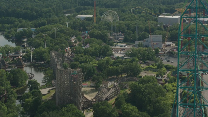 HD stock footage aerial video of panning past roller coasters at Six Flags Great Adventure theme park in Jackson, New Jersey Aerial Stock Footage PP003_072 | Axiom Images