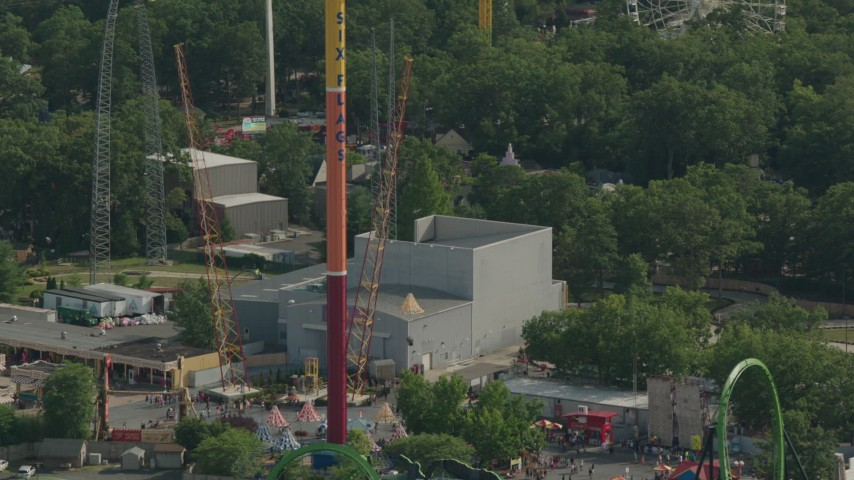 HD stock footage aerial video of orbiting the Parachute Jump Tower ride at Six Flags Great Adventure theme park, Jackson, New Jersey Aerial Stock Footage | PP003_073